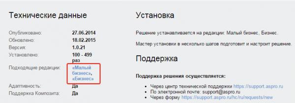 На странице решения перечислен список редакций 1С-Битрикс